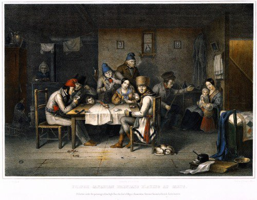 Cornelius Krieghoff - French Canadian Habitans Playing Cards
