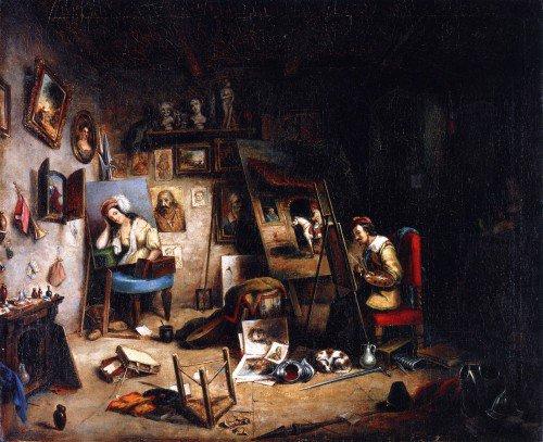 Cornelius Krieghoff - The Artist's Studio