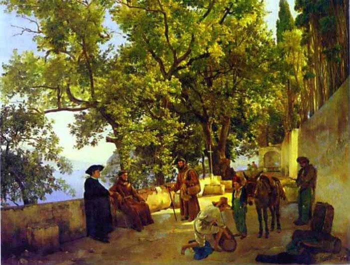 Shchedrin, Sylvester - A Terrace on a Seashore. A Small Town of Capuccini near Sorrento