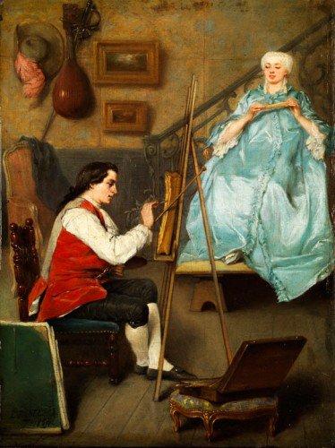 Benjamin Eugene Fichel - Junger maler beim portraitieren einer junger frau in blauen seidenkleid