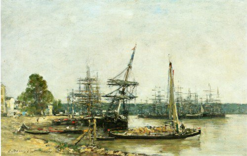 Eugène-Louis Boudin - Bordeaux, Moored Boats on the Garonne