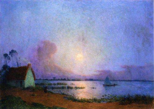Ferdinand du Puigaudeau - A Blue Evening over the Grande Briere Marsh