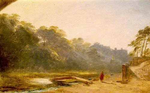 James Giles - Sketch of a Figure Walking by a Stream