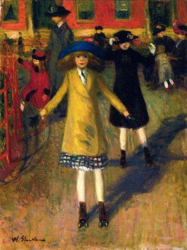 William Glackens - Girl Roller-Skating, Washington Square