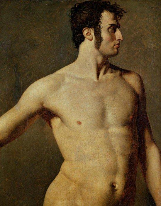 Ingres, Jean-Auguste-Dominique - Male Torso