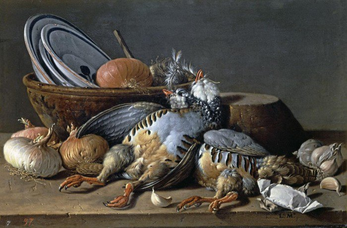 Meléndez, Luis - Still life with two partridges, onions, garlic and vessels
