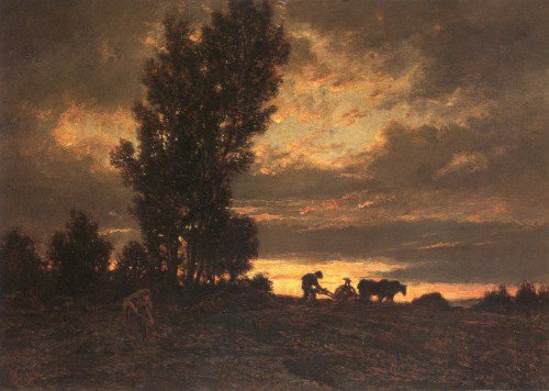 Théodore Rousseau - Landscape with a Ploughman