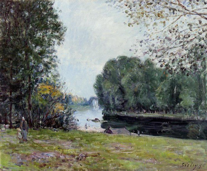 Sisley, Alfred - A Turn of the River Loing, Summer