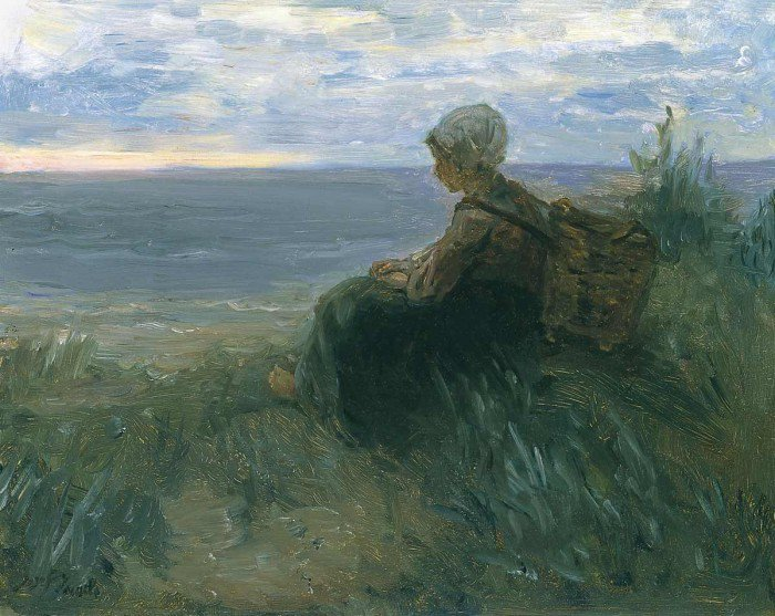 Israëls, Jozef - A Fishergirl on a Dune-Top Overlooking the Sea