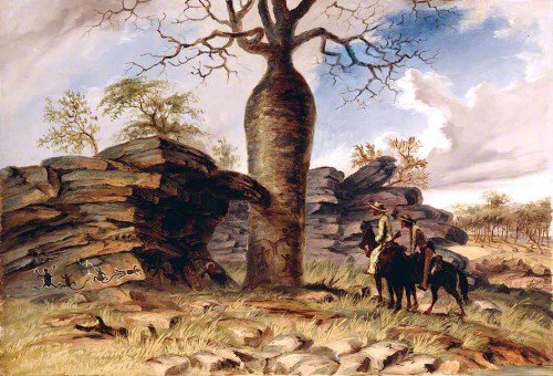 Thomas Baines - Figures Painted on Rocks and Carved on a Gouty Stem Tree