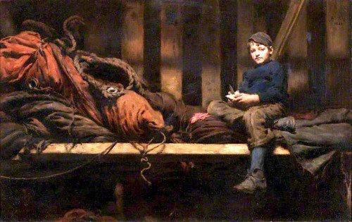 Henry Scott Tuke - Dinner Time – Ambrose Rouffignac in the Sail Loft