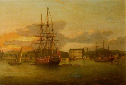 Thomas Luny - The Essex East Indiaman, Refitted and at Anchor in Bombay Harbour