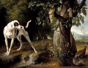 François Desportes - Landscape with a Dog and Partridges