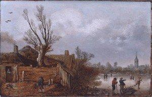 Esaias van der Velde I - Cottages and Frozen River