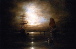Cornelius Krieghoff - Marine View - Moonlight (after Grolig)