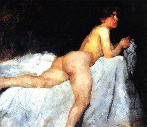 Wilhelm Trübner - Reclining Nude