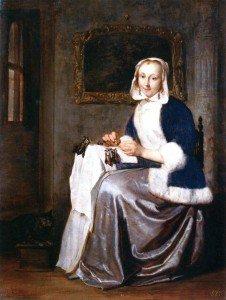Gabriël Metsu - A Woman Making Lace