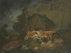 Julius Caesar Ibbetson - Milking Time on a Lake District Farm