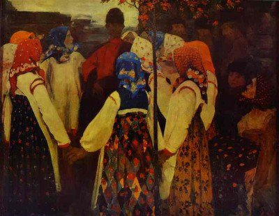 Ryabushkin, Andrey - A Young Man Breaking into the Girls' Dance, and the Old Women are in Panic