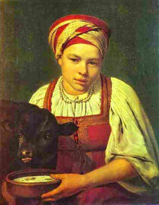 Venetsianov, Alexey - A Peasant Girl with a Calf