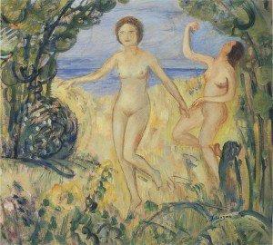Henri Lebasque - Two bathers by the beach