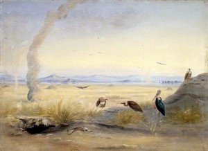 Johann Martin Bernatz - Barren Landscape with Vultures and Adjutant Bird beside a Carcass