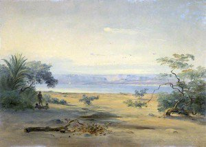 Johann Martin Bernatz - Sagallo: Landscape with Bay, an Arid Shore in the Foreground