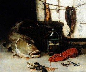 Frederick William Elwell - Codfish and Herrings