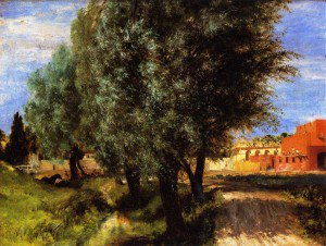 Adolph von Menzel - Building Site with Willows
