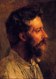 Adolph von Menzel - Head of a Bearded Workman in Profile