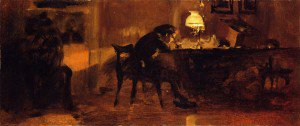 Adolph von Menzel - Young Boy Sitting at a Table