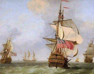 Peter Monamy - Men o' War in a Choppy Sea