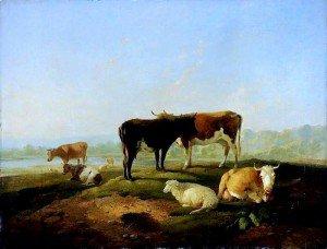 Richard Barrett Davis - Cattle at a Stream, Evening