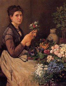 Otto Scholderer - Girl Cutting Flowers
