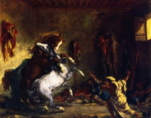 Eugène Delacroix - Horses Fighting in a Stable