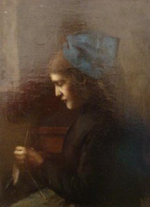 Jean-Jacques Henner - An Alsatian with Blue Headscarfe Stitching