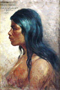 Antonio Parreiras - Head of an Indian Girl