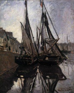 Claude Monet - Fishing Boats in Honfleur