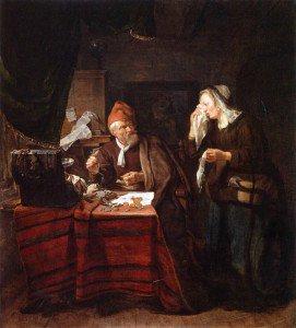 Gabriël Metsu - A Moneylender Visited by a Weeping Woman