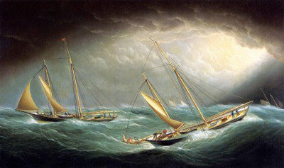 Buttersworth, James Edward - Four Yachts in a Storm