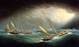 James E. Buttersworth - Four Yachts in a Storm