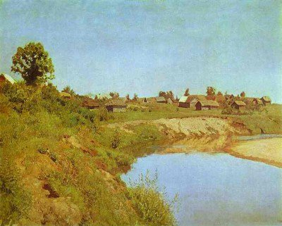 Levitan, Isaac - Village on the Bank of a River