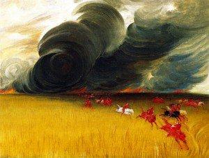 George Catlin - Prairie Meadows Burning
