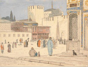 Martinus Rørbye - Square in Front of the Bab-i Humayun Gate in Constantinople