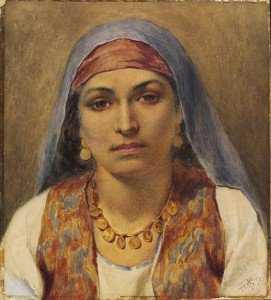 Frederick Goodall - Head of an Egyptian Girl