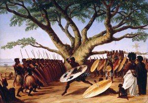 Thomas Baines - War Dance under a Fig Tree by Zulus